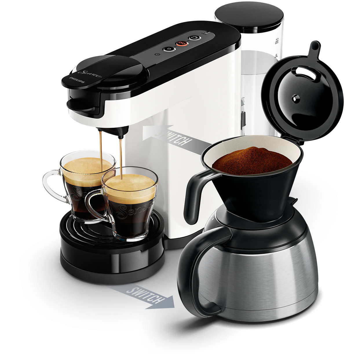 philips senseo switch hd7892 00 kaffeepad und filtermaschine thermoskanne wei ebay. Black Bedroom Furniture Sets. Home Design Ideas