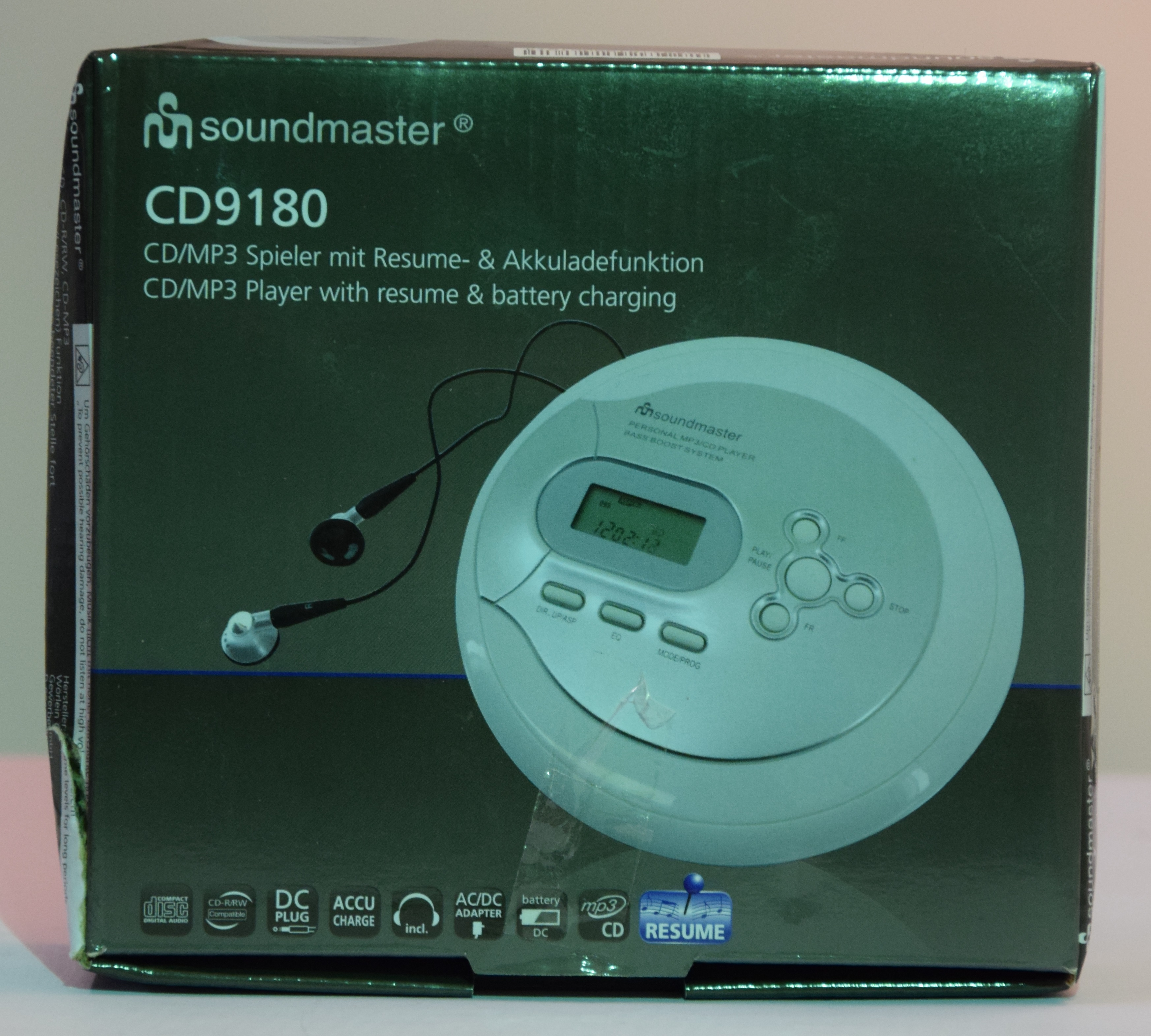 soundmaster cd9180 cd mp3 player with esp battery charger